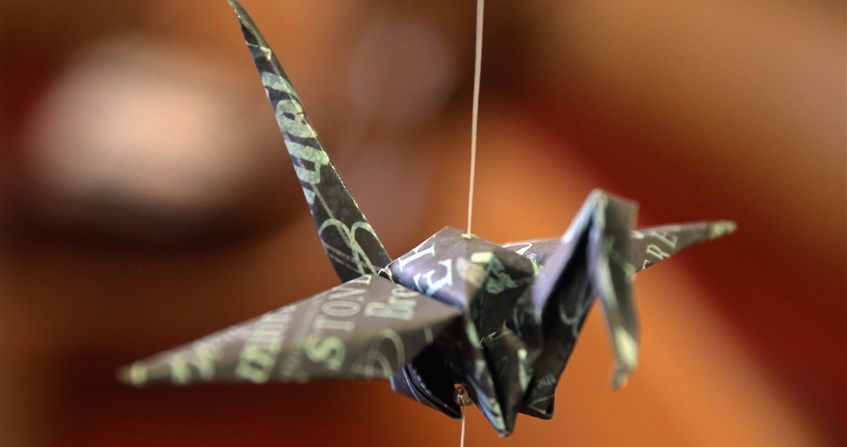 Paper cranes at Ames First UMC symbols of 'God's love and peace'