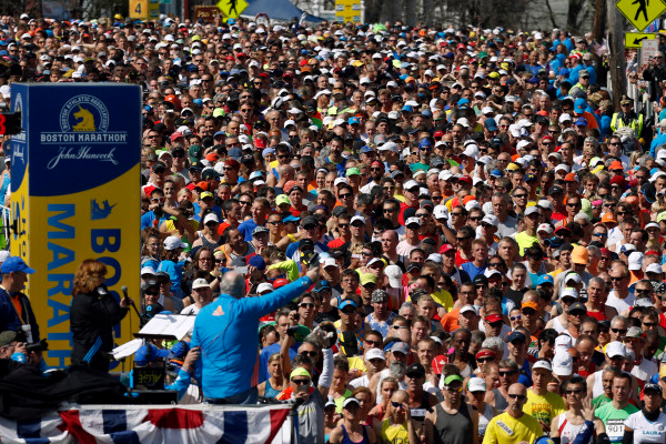 Bishop Laurie runs the Boston Marathon